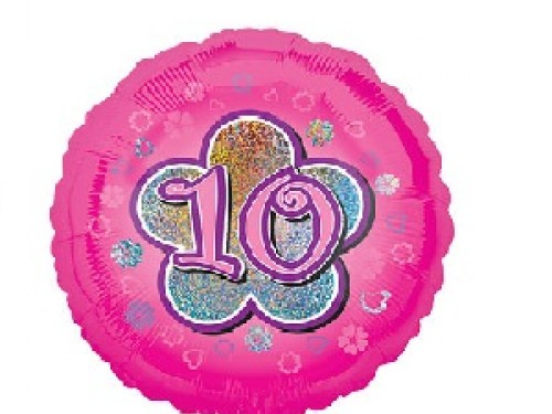 "10th Birthday Pink Flowers Balloon - 18"" Foil"