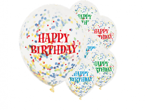 "Balloons-Happy Birthday Bright Confetti Balloons - 12"" Latex"