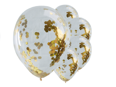 "Balloons - Pick & Mix Gold Confetti Balloons - 12"" Latex"