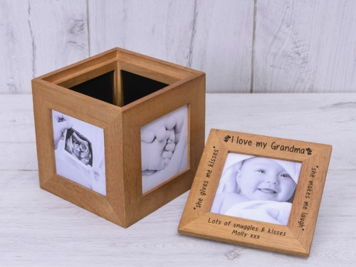 Personalised Oak Photo Cube love ......